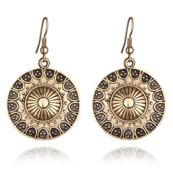 Bohemian Tibetan Drop Earings Vintage Silver Plated Round Hanging Earrings Women Ethnic Brincos Indian Jewelry