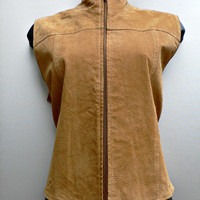 1980's Suede Leather Vest - Warm Light Brown - Western Wear - Hippie Boho Chic - Women's Size Medium (M)