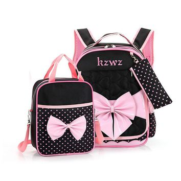 Kids Canvas Cartoon Cute Bow Backpacks For Primary school Student Shoulder Bags Children Book Hand Bag Crossbody Bolsa Rucksacks