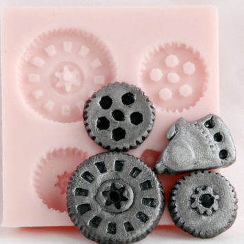 Gears Steampunk Food Safe Mold - Fondant gear mold - candy steampunk mold - gears chocolate mold