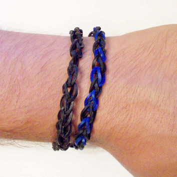 TWO Thin Rainbow Loom Style Rubber Band Bracelets - Black and Blue - Anklets - Choose Any Color Combination