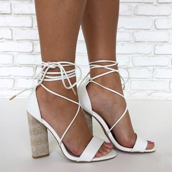 Wrap City Heels in White
