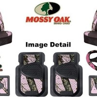 Mossy Oak Infinity Pink Camo Print Car Truck SUV Front & Rear Seat Heavy Duty Trim-to-Fit Rubber Floor Mats Universal-fit Front Bucket Seat Covers Steering Wheel Cover Key Chain - 8PC