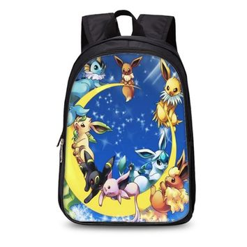 New  Vulpix Bagpack Boys Girls Back to School Bag Children Schoolbags For Teens Kids Gift Bookbag Mochila Backpack H211Kawaii Pokemon go  AT_89_9