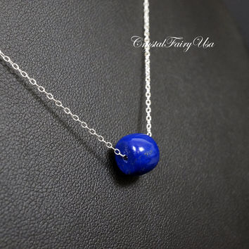 Super High Quality Lapis Lazuli Necklace Sterling Silver Choker - Natural Cobalt Blue Lapis Lazuli Necklace  Crystal Healing Lapis Jewelry