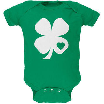 St. Patricks Day - Shamrock Heart Kelly Green Soft Baby One Piece