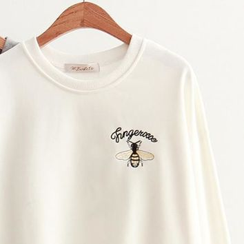 Gucci Fashion Casual Long Sleeve Monogram Bee Embroider Sweater Pullover Top