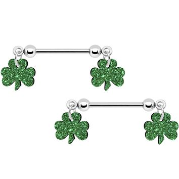 "14 Gauge 5/8"" Green Glitter St Patricks Day Shamrock Nipple Ring Set"