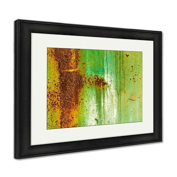 Framed Print, Creative Old Rusty Metal Flat Dirty Metal As The Main For