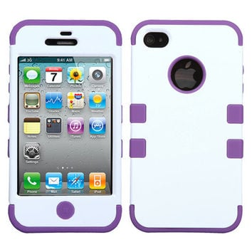 For iPhone 4 4S Rubber IMPACT TUFF HYBRID Case Skin Phone Cover White Purple