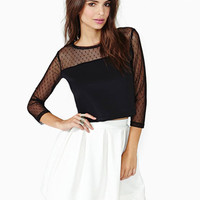 Black Spotted Mesh Top