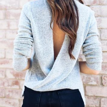 Grey Cut Out Backless Band Collar Slouchy Casual Pullover Sweater