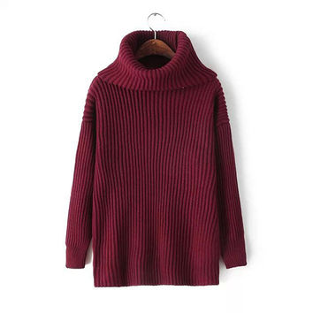 Women's Simple Lapel Thick Knitted Pullover Sweater Jumper