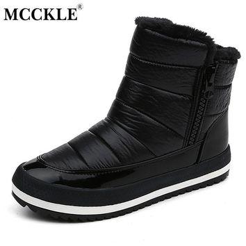 MCCKLE Female Zip Sequined Cloth Warmer Plush Slip On Winter Ankle Snow Boots 2017 Wom