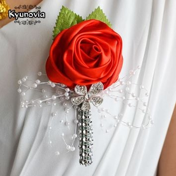 Kyunovia Wedding Prom Corsage Artificial Flower brooch Wedding boutonniere Groom Bridesmaid Groomsmen Flowers Boutonniere FE21