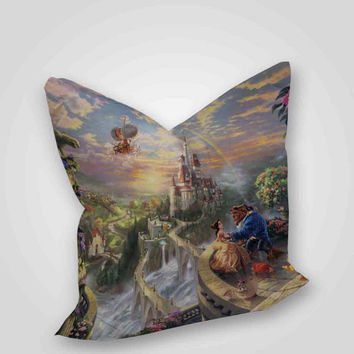 Beauty and the Beast all character in the castle, pillow case, pillow cover, cute and awesome pillow covers