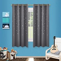 Gray Stars Kids Room Curtains - NICETOWN Naptime Essential Nursery Window Curtains for Kid's Room, Bedroom Blackout Curtain Panels with Die-cut Stars (2 Panels, W52 x L63-Inch, Grey)