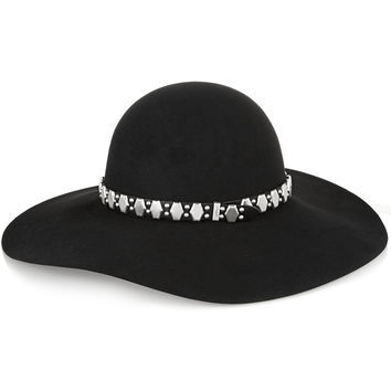 Saint Laurent - Embellished leather-trimmed rabbit-felt fedora