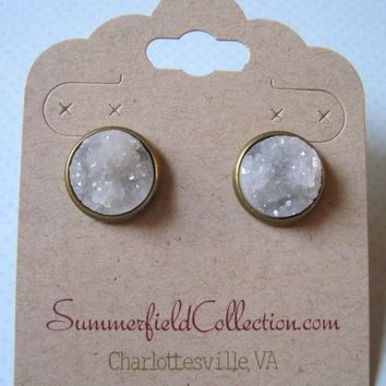 Antiqued Gold-Tone Stud Earrings 12mm Clear Light Gray Faux Druzy Stone