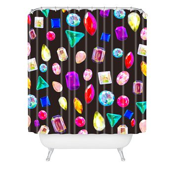 Natalie Baca Rhinestone Reverie In Black Shower Curtain
