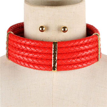"12.50""  faux leather braided collar choker necklace .40"" earrings chunky"