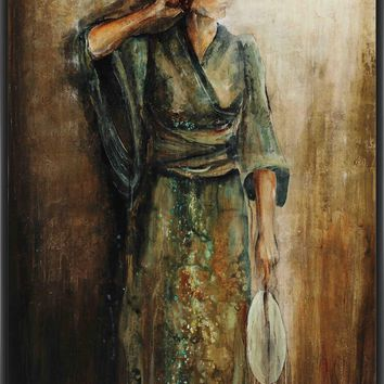 AMERICAN GEISHA 22L X 28H Floater Framed Art Giclee Wrapped Canvas