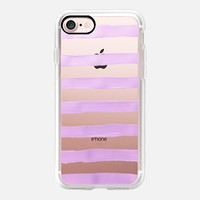 Pastel Lavender Stripes (transparent) iPhone 7 Case by Lisa Argyropoulos | Casetify