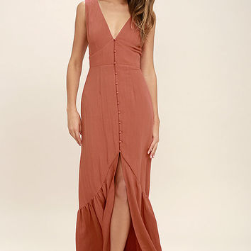 Simpatico Rust Orange Maxi Dress