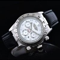 Rolex Fashion Women Men Leather Business Sport Movement Couple Black Silver Watch I-SBHY-WSL