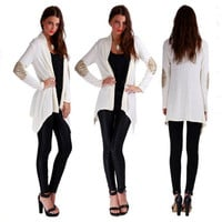 White Long Sleeve Sequined Elbow Patch Cardigan