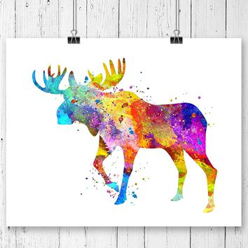 Moose Watercolor Art Print - Unframed