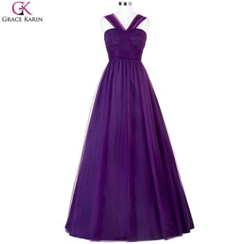 Purple Bridesmaid Dresses 2017 Grace Karin Lavender Cheap Halter Tulle Long Maid of Honor Dress Under 50 For Wedding Party