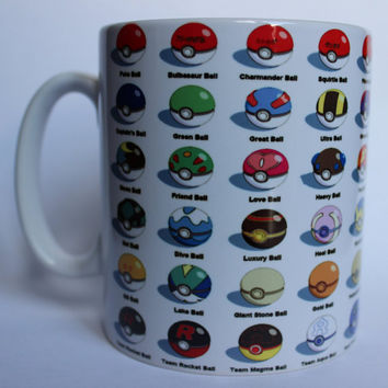 Custom Printed Pokemon poke ball Mug perfect for a Gift Kitchen Work Office Cup