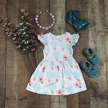 RTS Spring Floral Hot Air Balloon Girls Summer Dress 9