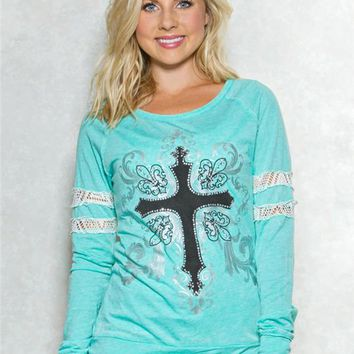 Cross Lace Band Graphic Top