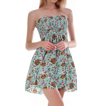 Print off shoulder ruffle short dress women Backless slim mini dress Strapless pleated summer sexy dress vintage 2019