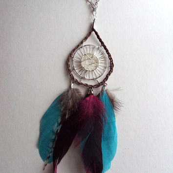 Turquoise Feather Dream Catcher Necklace