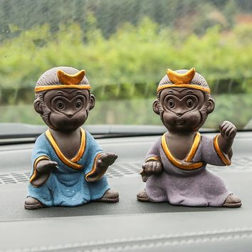 Ceramics Monkey King Figurines Crafts Automobile Car Dashboard Decoration Ornaments Charms Pendant Cute Car Accessories Gifts