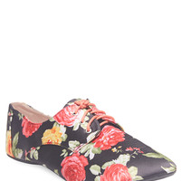 Satiny Floral Print Oxfords | Wet Seal