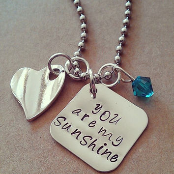 """Hand Stamped """"You Are My Sunshine"""" Necklace"""