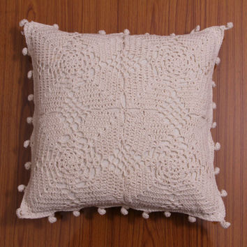 Handmade CROCHET CUSHION - Authentic INDIAN style - Pillow cover - Throw Pillow