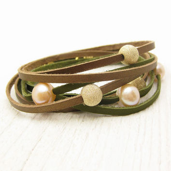 Peach Pearl and Gold with Bronze and Olive Leather Wrap by byjodi
