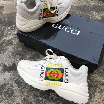 GUCCI Tide brand classic double G printing retro wild men and women casual shoes
