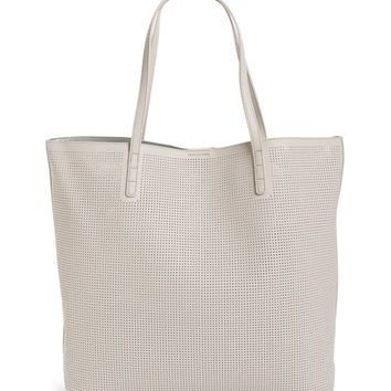 Street Level Reversible Perforated Faux Leather Tote | Nordstrom