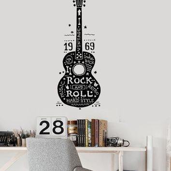 Vinyl Wall Decal Guitar Rock and Roll Music Hard Retro Indie Hippies Stickers Unique Gift (ig3122)