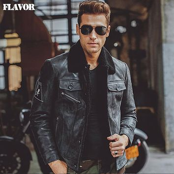 Men's black real leather jacket Genuine Leather jacket fur collar motorcycle jackets winter warm coat