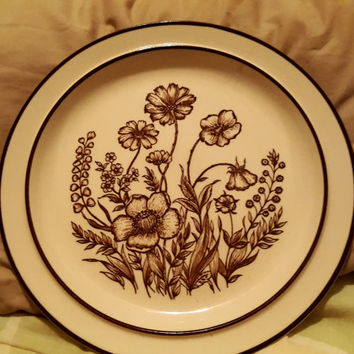 Design Four Stoneware Indian Summe Chop Plate/ Platter Brown Flowers Floral Stoneware