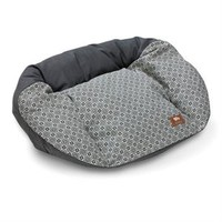 Hemp Dog Bed - Tuckered Out shown in a rich charcoal grey with coordinating print.