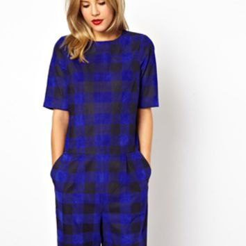ASOS Playsuit in Suede Plaid Check - Blue