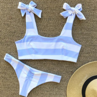 Fashion hot sells two pieces of swimsuit sexy blue and white striped bikini